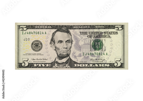Fototapeta American five dollar banknote isolated over white obraz