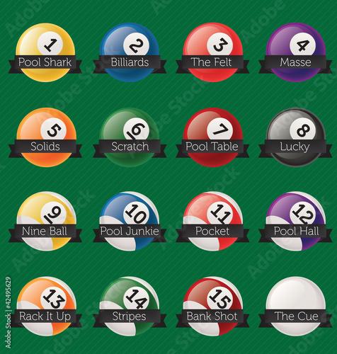 Fotografie, Tablou  Vector Set: Billiards Banner Labels