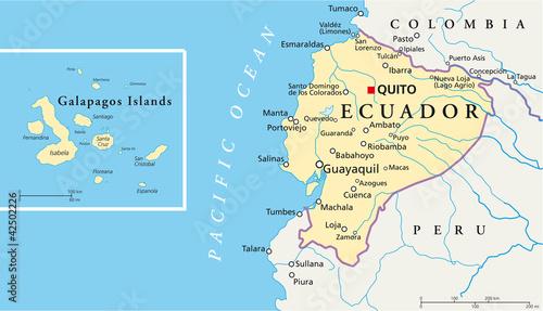 Ecuador and Galapagos Islands political map with capital Quito