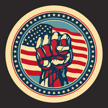 Power Concept With USA Flag Background.