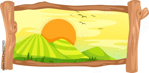 Wall Murals Birds, bees landscape in wooden frame