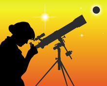 Silhouette Of An Astronomer