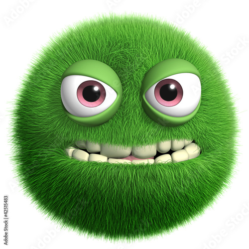 Foto auf Leinwand Nette Monster green furry monster