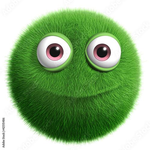 Poster de jardin Doux monstres green furry monster