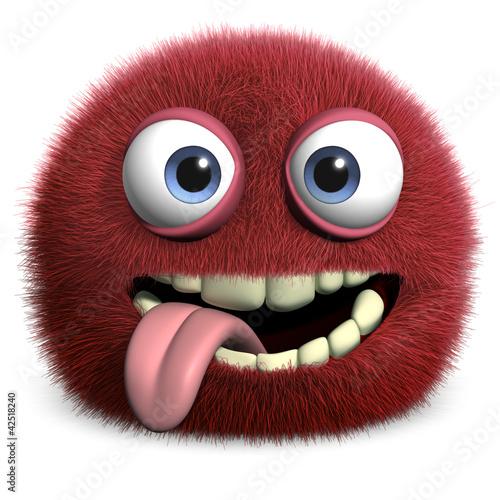 Foto op Aluminium Sweet Monsters red hairy ball