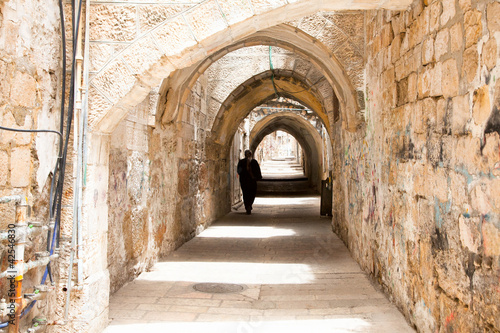Sreet of Jerusalem Old City Alley made with hand curved stones