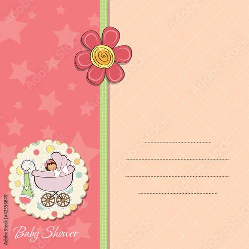 Poster de jardin Oiseaux en cage baby girl announcement card