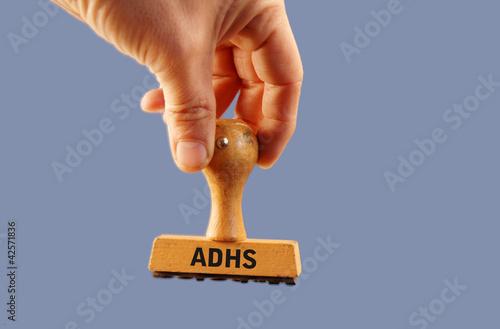 Foto  ADHS  Stempel - blauer Hintergrund
