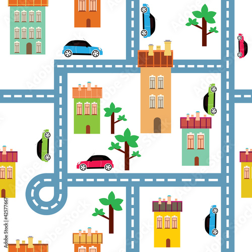 Poster de jardin Route vector background of the city