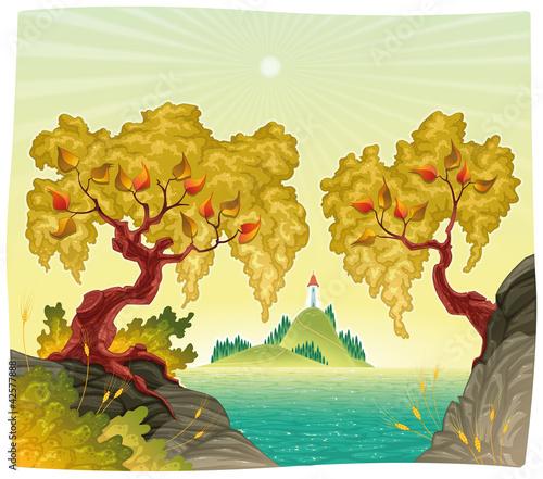 Kolekcje specjalne naklejek romanitc-krajobraz-na-morzu-ilustracji-wektorowych