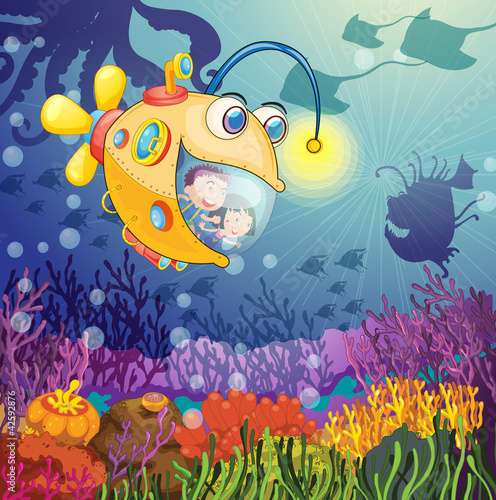 Wall Murals Submarine monster fish and kids