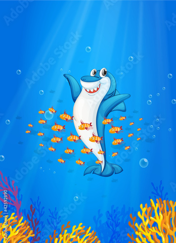 Aluminium Prints Submarine shark fish