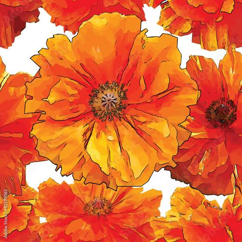 Keuken foto achterwand Abstract bloemen Bright poppy seamless pattern