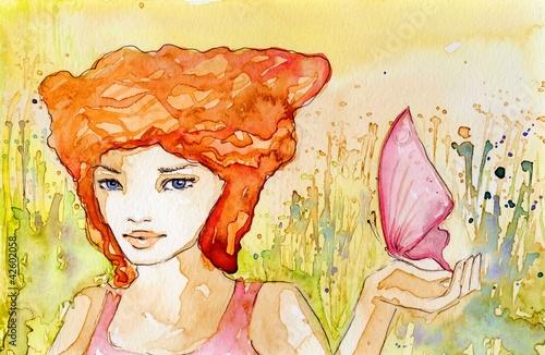 Garden Poster Painterly Inspiration dziewczyna z motylem