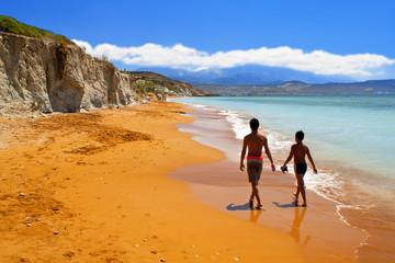 Sandy red beach at Kefalonia island in Greece