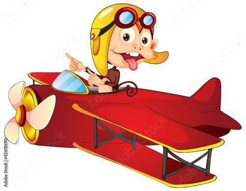Cadres-photo bureau Avion, ballon monkey driving aircraft