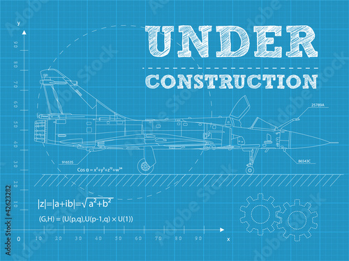 Under construction on a blueprint paper with airplane buy this under construction on a blueprint paper with airplane malvernweather Images