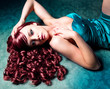 canvas print picture - beautiful woman with red hair and evening-dress / haircolors 09