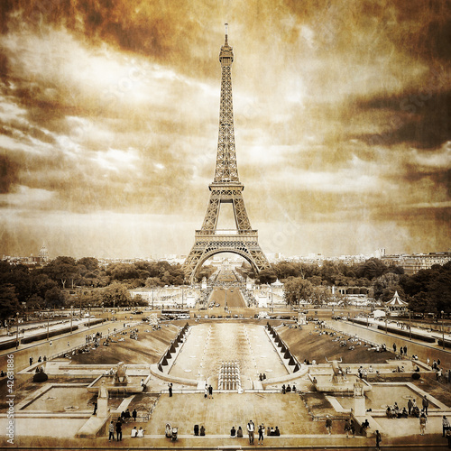 Poster Paris Eiffel tower from Trocadero monochrome vintage