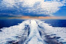 Blue Sea With Prop Wash Wake In Ibiza Island