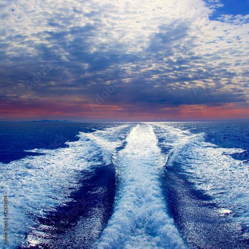 Papiers peints Nautique motorise Blue sea with prop wash wake in Ibiza Island