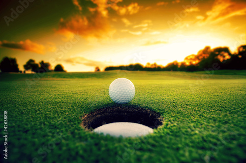 Acrylic Prints Golf Golf Ball near hole