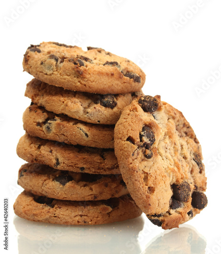 Garden Poster Cookies Chocolate chips cookies isolated on white.