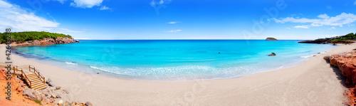 Cala Nova beach in Ibiza island panoramic Poster Mural XXL