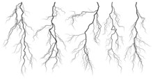 Set Of Silhouettes Of Thunders...
