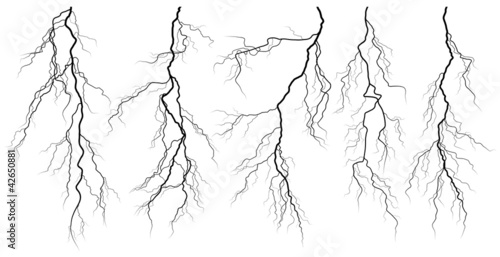 Fotografía Set of silhouettes of thunderstorm lightning.