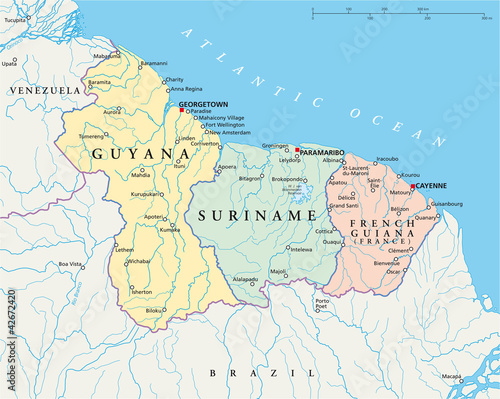 Map Of France With Cities And Rivers.Guyana Suriname And French Guiana Political Map With Capitals
