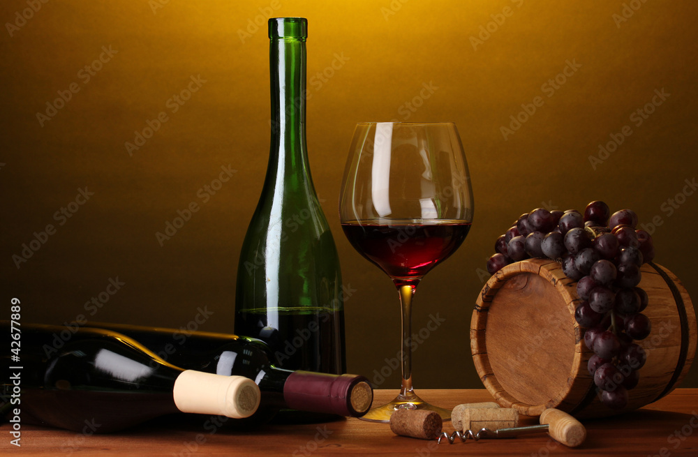 Fototapety, obrazy: In wine cellar. Composition of wine bottles and runlet