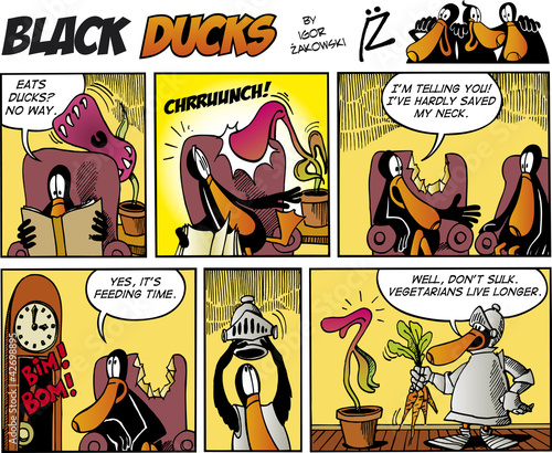 Printed kitchen splashbacks Comics Black Ducks Comics episode 75