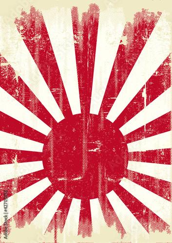 Papiers peints Affiche vintage Japan grunge flag