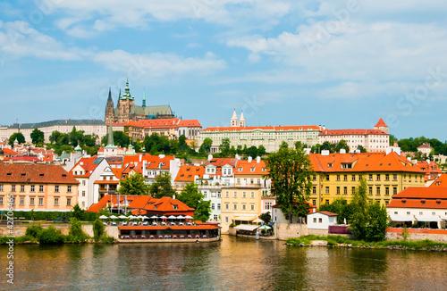 Staande foto Praag The View on summer Prague above River Vltava