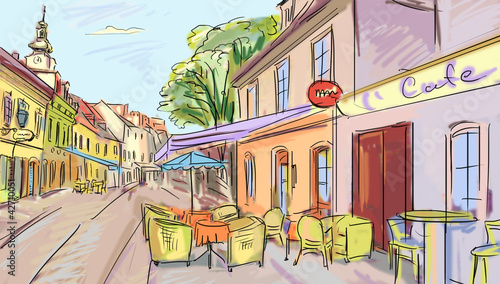 Keuken foto achterwand Drawn Street cafe Illustration to the old town