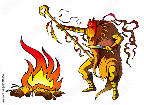 Poster Chambre d enfant Tribal priest (shaman) conjuring above fire, vector