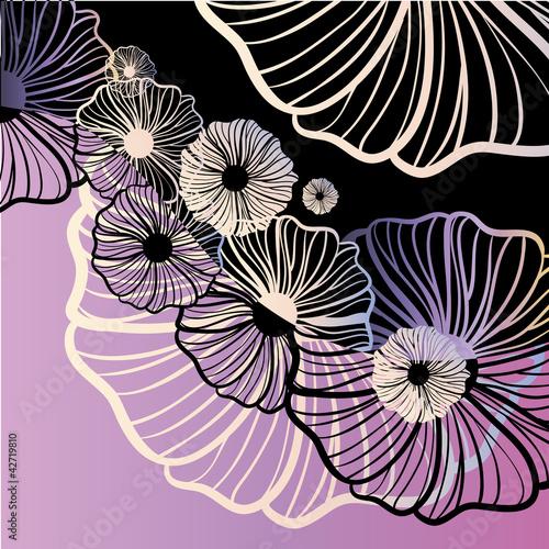 Keuken foto achterwand Abstract bloemen Violet poppy floral ornament