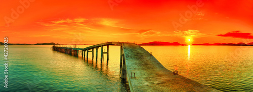 Spoed Foto op Canvas Baksteen Sunset panorama