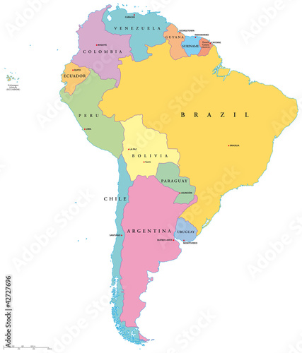 South America political map with single states, capitals and ...