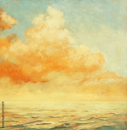 Photo Stands Melon sea landscape with a cloud, illustration, painting by oil on a