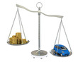 Money and the car in the gold balance scales