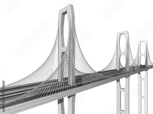 Deurstickers Brug bridge on a white background