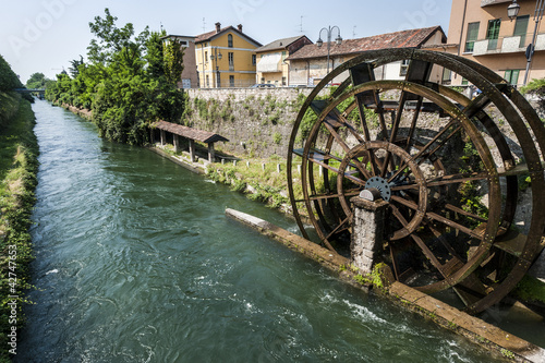Groppello d'Adda (Milan, Lombardy, Italy), ancient  watermill on Canvas Print