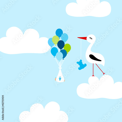 Poster Ciel Tall Stork With Teddy Cloud Baby Boy Balloons Blue