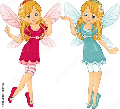 La pose en embrasure Fées, elfes Pink fairies blue