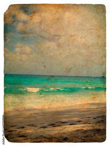 Nowoczesny obraz na płótnie Indian Ocean, Seychelles. Old postcard.