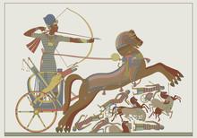 Fresco Of The Pharaoh Ramses In Combat
