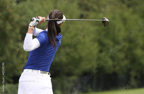 Deurstickers Golf woman golf swing