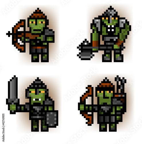 Poster Pixel pixel ork soldiers